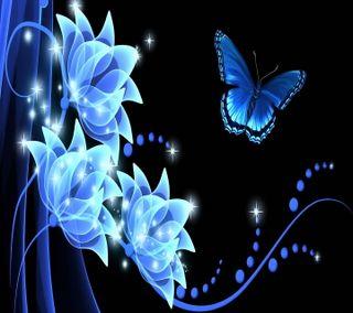 Обои на телефон цветочные, цветы, синие, бабочки, blue rhapsody