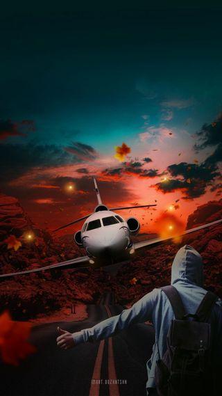 Обои на телефон самолет, обнимать, одиночество, traveling, airplane hug