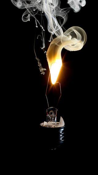Обои на телефон электрические, сломанный, пламя, лампочка, лампа, дым