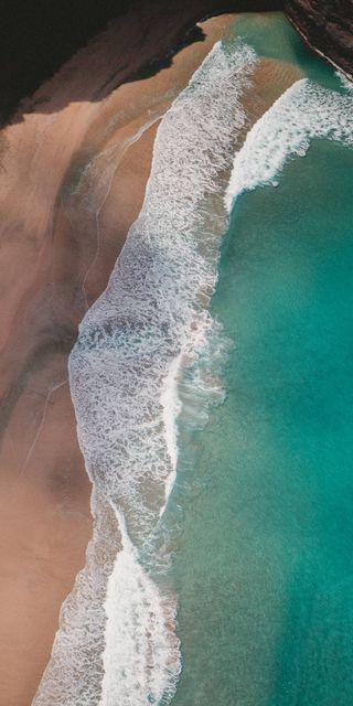 Обои на телефон айфон 6, эпл, пляж, песок, морской берег, море, зеленые, ios, apple