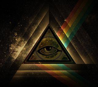 Обои на телефон треугольник, радуга, звезда, космос, глаза