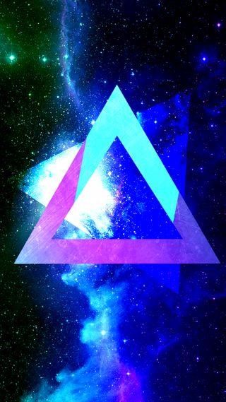 Обои на телефон треугольники, космос, абстрактные, sci-fi triangles