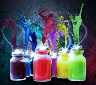 Обои на телефон бутылка, цветные, рисунки, брызги, абстрактные