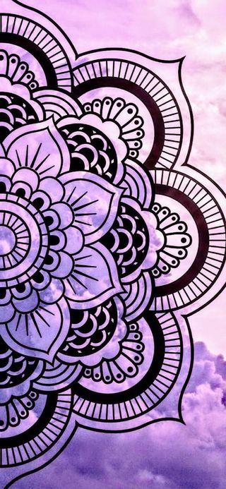 Обои на телефон мандала, фиолетовые, дизайн, дзен