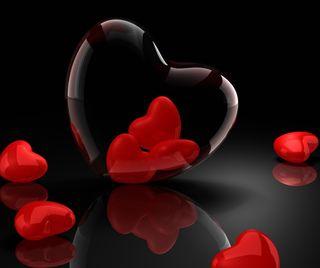 Обои на телефон валентинки, стекло, сердце, отражение, любовь, love, 3д, 3d