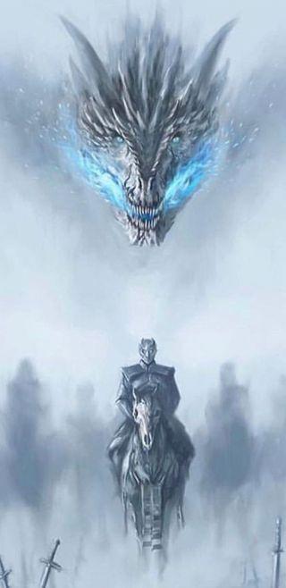 Обои на телефон снег, сезон, ночь, король, игра, season 8, night king, got, daenerys