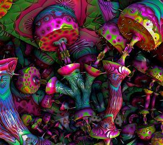 Обои на телефон странные, цветные, поездка, грибы, trippy mushrooms