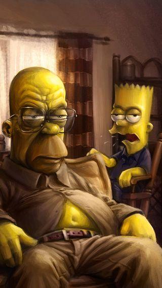 Обои на телефон будь, симпсоны, персонажи, отец, мультфильмы, мужчина, мальчик, to be a father, man, cry