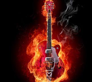 Обои на телефон гитара, огонь