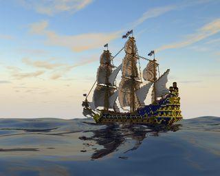 Обои на телефон пираты, парусные, лодки, море, майнкрафт, игра, realistic, galleon, blocky sailing