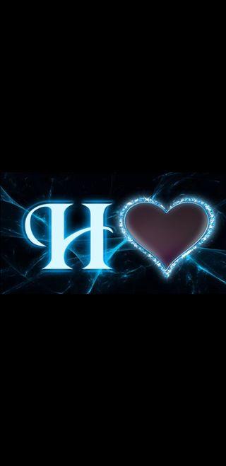 Обои на телефон черные, синие, молния, буквы, h letter