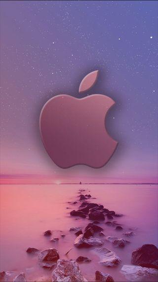Обои на телефон эпл, симпатичные, розовые, океан, небо, море, логотипы, звезды, вода, айфон, iphone, apple