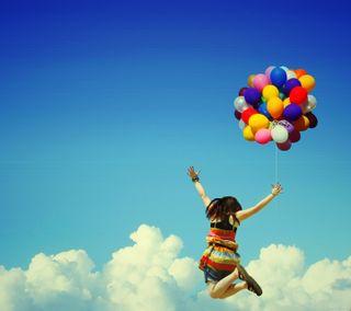 Обои на телефон пожелание, шары, счастье, самсунг, прыгать, небо, милые, летать, крутые, девушки, samsung, hd