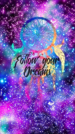 Обои на телефон ловец снов, фиолетовые, синие, мечта, блестящие, follow u dream