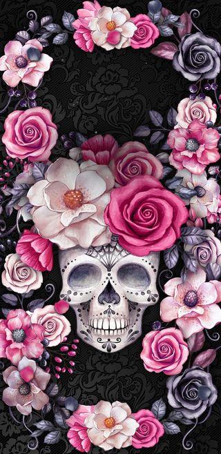 Обои на телефон розовые, цветы, череп, розы, цветочные, сад
