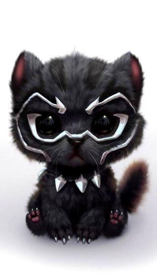 Обои на телефон рисунки, черные, пантера, милые, маленький