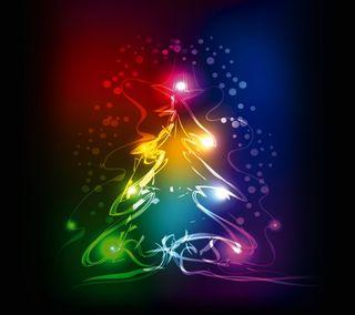 Обои на телефон неоновые, дерево, цветные, рождество