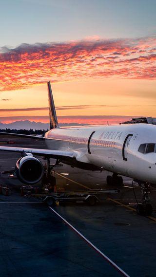 Обои на телефон самолет, солнце, реактивный, небо, airport