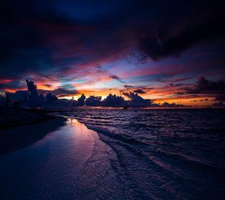 Обои на телефон сияние, темные, природа, облака, ночь, небо