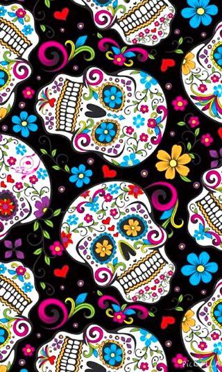 Обои на телефон смерть, черные, череп, цветы, цветные, сахар, мертвый, красочные