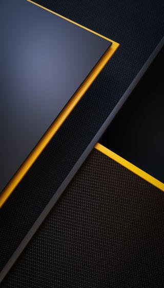 Обои на телефон технология, черные, простые, плитка, минимализм, металл, желтые, грани, геометрические, будущее, yellow black tile