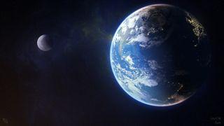 Обои на телефон луна, космос, земля, звезды
