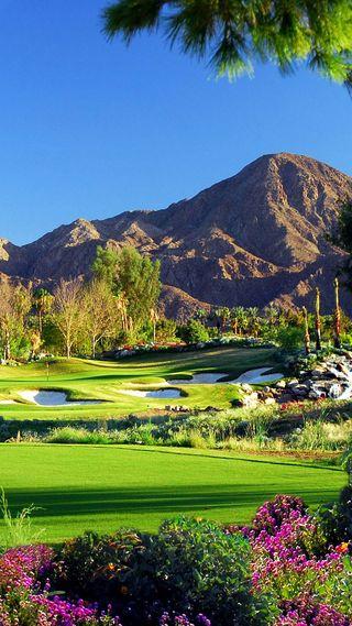 Обои на телефон clubs, course, greens, вода, песок, шары, гольф, игроки