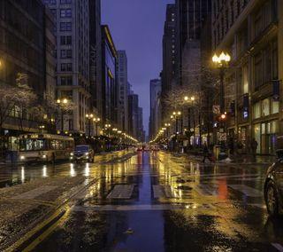Обои на телефон дороги, чикаго, улицы, сша, ночь, города, америка, usa