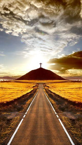 Обои на телефон крест, путь, природа, пейзаж, небеса, дорога, горы, абстрактные, road to heaven