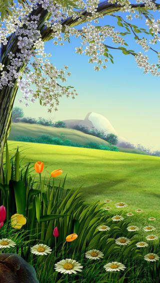 Обои на телефон яркие, цветы, поле, пейзаж, дизайн, горы, арт, vibrant fields, art
