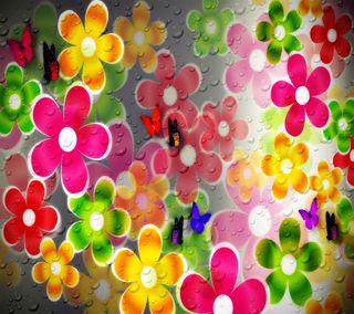 Обои на телефон коллаж, цветы, лето, красочные, капли, summer collage