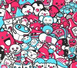Обои на телефон цвет морской волны, розовые, монстры, арт, monster art, darkdroid, art