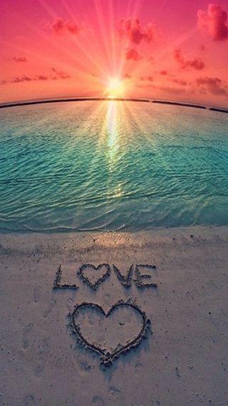 Обои на телефон пляж, море, сердце, любовь, love