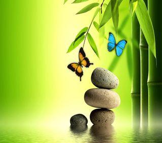 Обои на телефон спа, другие, природа, прекрасные, крутые, камни, вода, бамбук, бабочки
