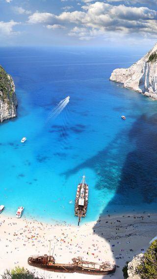 Обои на телефон греция, рок, природа, облака, море, люди, лодки