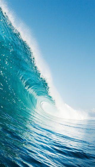 Обои на телефон волна, синие, море, вода