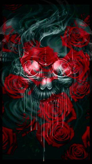Обои на телефон что-то, глубокие, череп, цветы, розы, something deep
