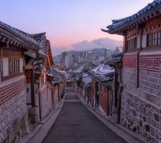 Обои на телефон города, архитектура, улица, снег, небо, seoul