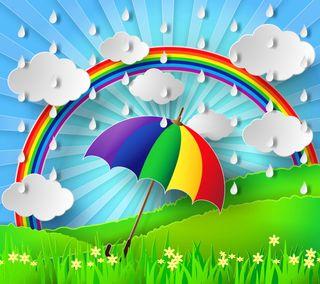 Обои на телефон амбрелла, радуга, красочные, дождь, дизайн, день, арт, абстрактные, art