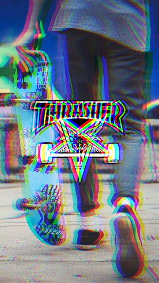 Обои на телефон скейт, сбой, trasher glitch 2, trasher, skating, skateboarding