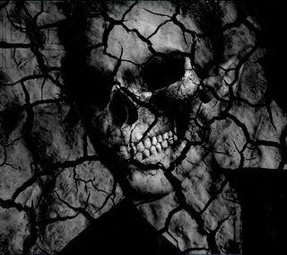 Обои на телефон трещина, треснутые, скелет, череп