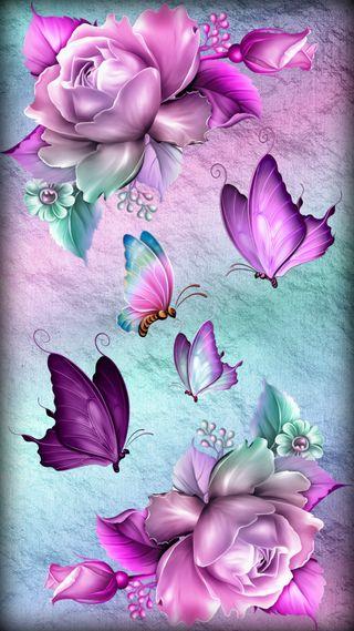 Обои на телефон фантазия, розы, природа, орхидеи, красочные, дизайн, бабочки, fantasy roses