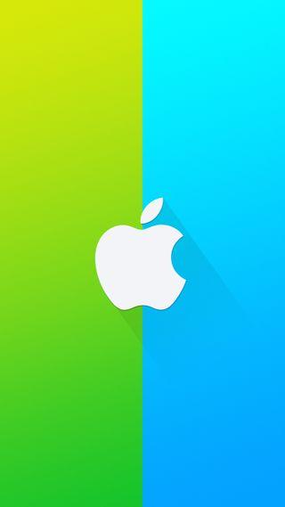 Обои на телефон материал, эпл, синие, логотипы, зеленые, дизайн, бренды, apple