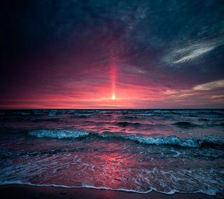 Обои на телефон сумерки, рай, океан, пляж, песок, море, закат, волны, twilight ocean