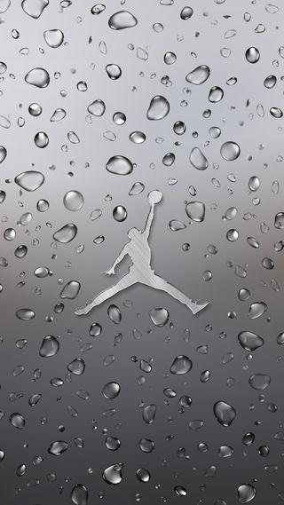 Обои на телефон черные, металл, логотипы, капли, дождь, джордан, вода, man, jumpman, 2017