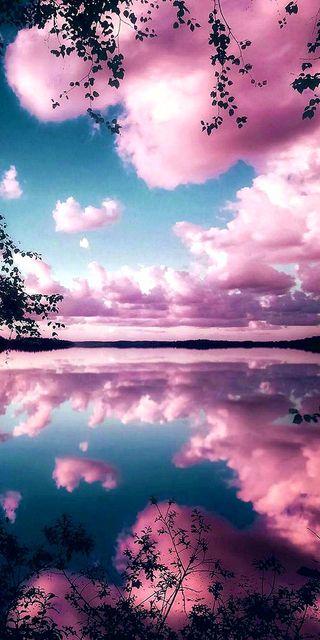 Обои на телефон розовые, отражение, небо, море, pink sea