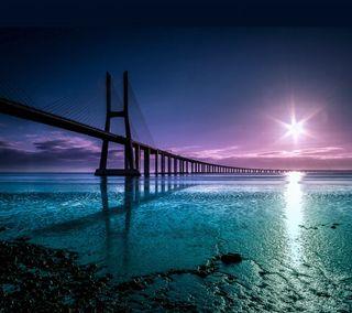 Обои на телефон мост, солнце, природа, прекрасные, озеро, зеленые, восход, вода, bidge at sunrise