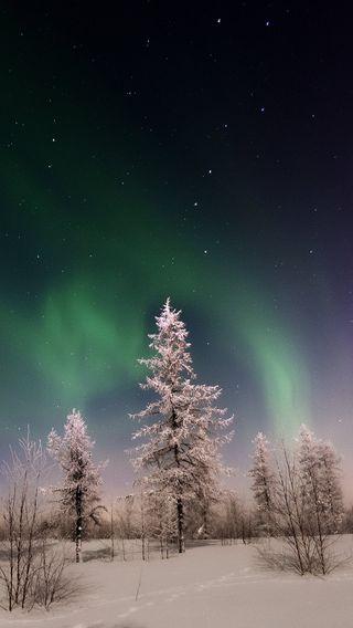 Обои на телефон аврора, снег, пейзаж, небо, зима, winter landscape