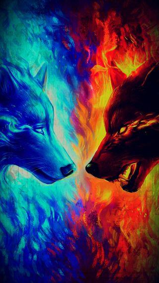 Обои на телефон огонь, лед, картина, злые, грустные, волк, бой, ice battle sad angry