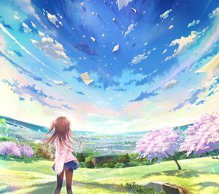 Обои на телефон сакура, японские, чистые, синие, рисунок, природа, небо, девушки, аниме, clear sky ii